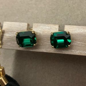 Coach emerald green gold earrings EUC